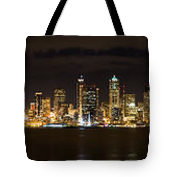 Seattle Waterfront At Night Panoramic Tote Bag by Chris McKenna