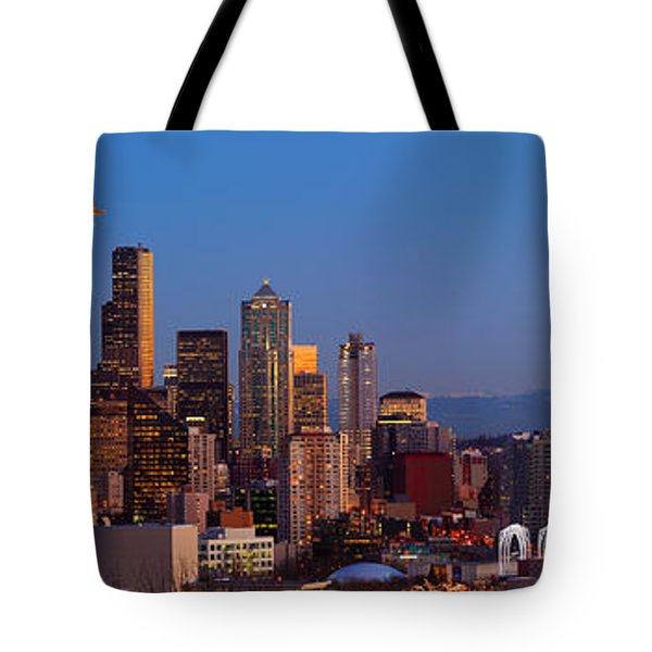 Seattle Winter Evening Panorama Tote Bag by Inge Johnsson