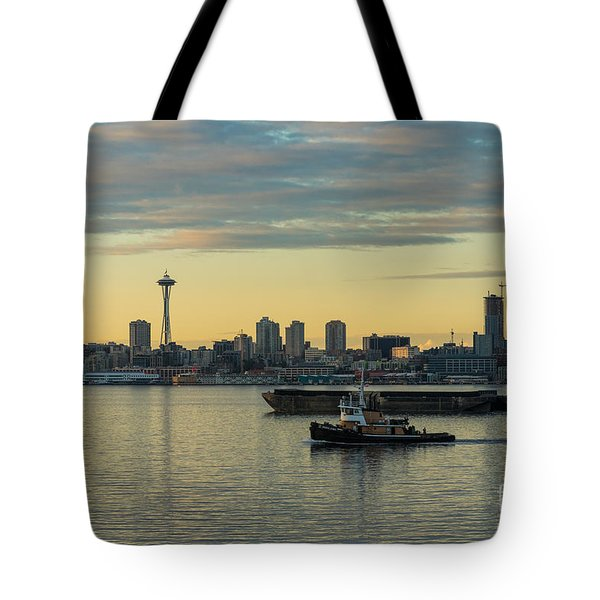 Seattles Working Harbor Tote Bag by Mike Reid
