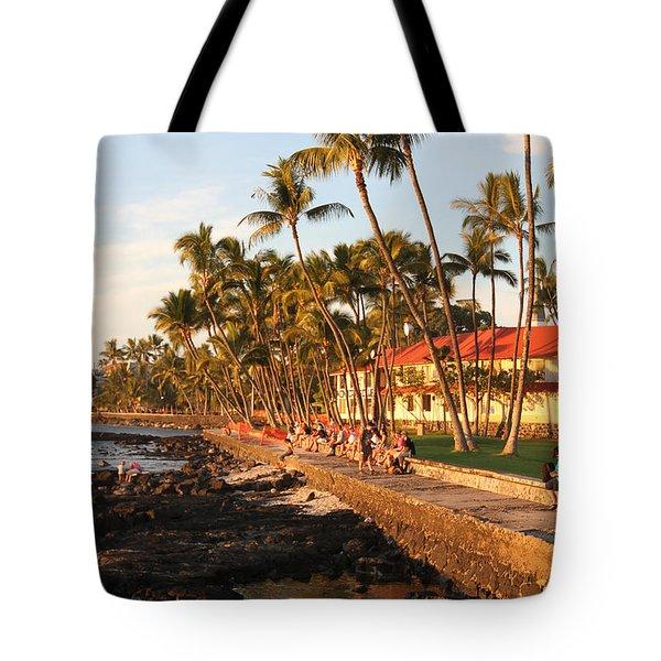 Seawall At Sunset Tote Bag