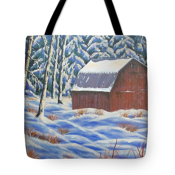 Tote Bag featuring the painting Secluded Barn by Susan DeLain