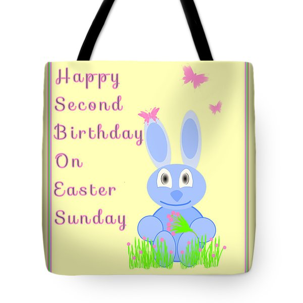 Second Birthday On Easter Tote Bag by Rosalie Scanlon
