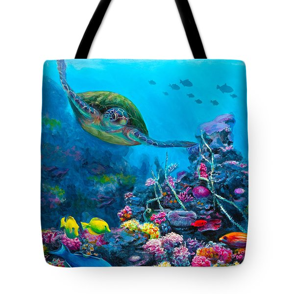 Secret Sanctuary - Hawaiian Green Sea Turtle And Reef Tote Bag by Karen Whitworth