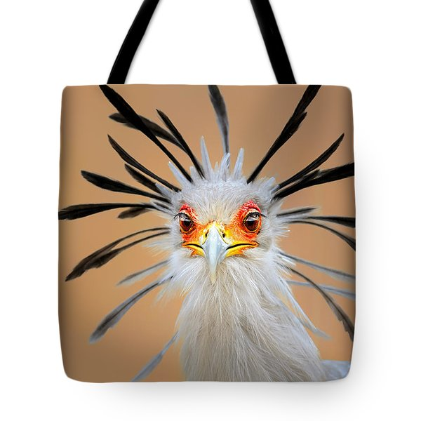Secretary Bird Portrait Close-up Head Shot Tote Bag by Johan Swanepoel