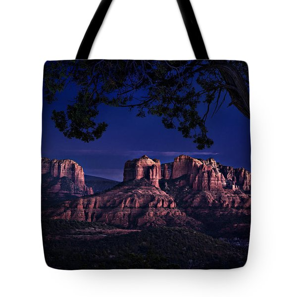 Sedona Cathedral Rock Post Sunset Glow Tote Bag by Mary Jo Allen