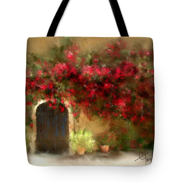 The Bougainvillea's Of Sedona Tote Bag by Colleen Taylor
