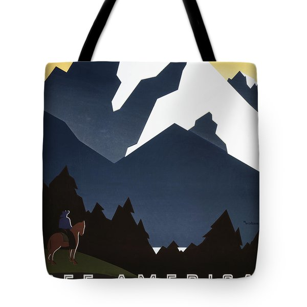 See America - Montana Mountains Tote Bag by Georgia Fowler