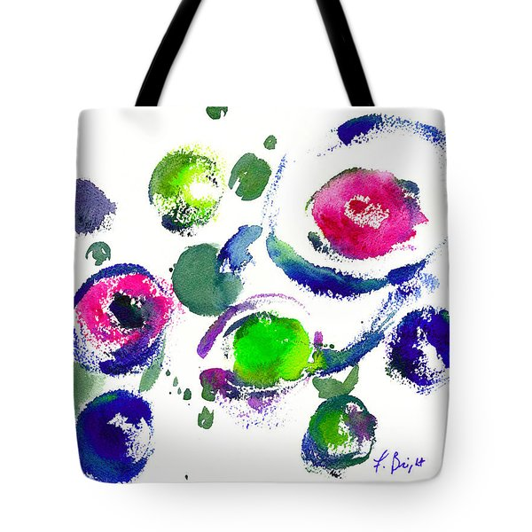 Tote Bag featuring the painting Seeing Through Circles by Frank Bright