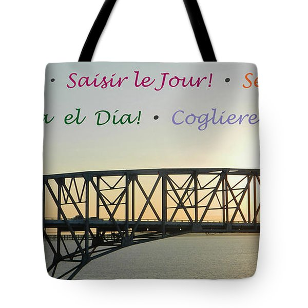 Seize The Day - Annapolis Bay Bridge Tote Bag by Emmy Marie Vickers