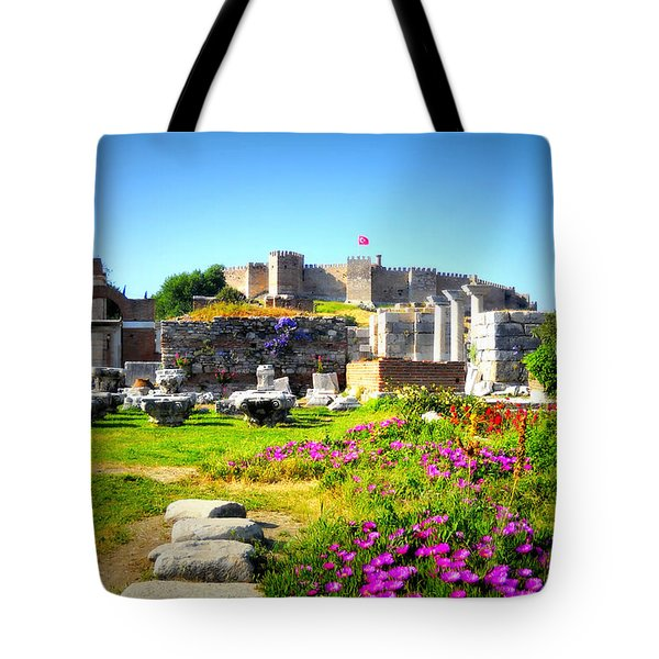 Tote Bag featuring the photograph Selcuk Castle by Lou Ann Bagnall