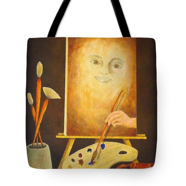 Self-portrait In Progress Tote Bag by Pamela Allegretto