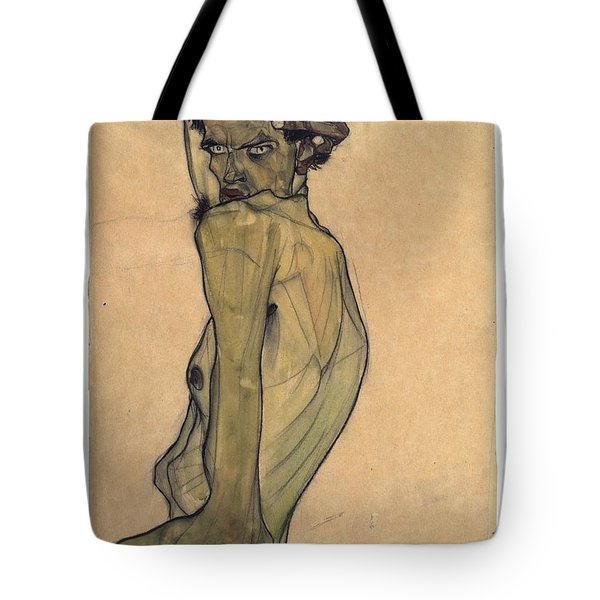 Tote Bag featuring the painting Self-portrait With Arm Twisted Above Head by Egon Schiele