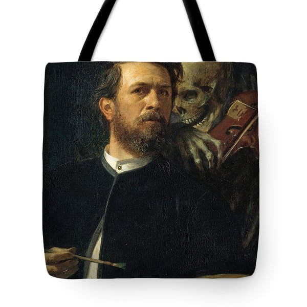 Self Portrait With Death Tote Bag by Arnold Bocklin