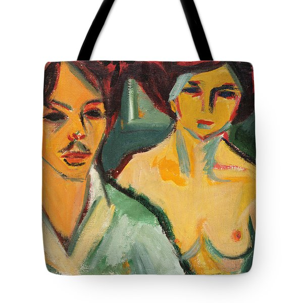 Self Portrait With Model Tote Bag by Ernst Ludwig Kirchner
