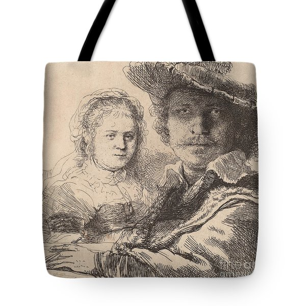 Self Portrait With Saskia Tote Bag by Rembrandt
