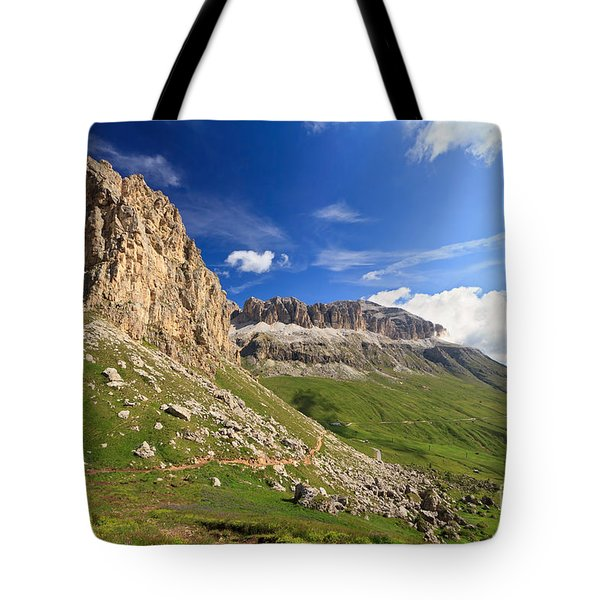 Tote Bag featuring the photograph Sella Mountain And Pordoi Pass by Antonio Scarpi