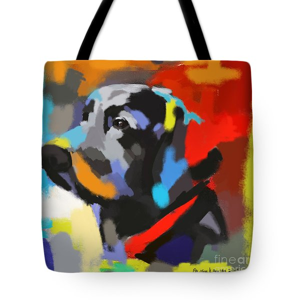 Tote Bag featuring the painting Dog Sem by Go Van Kampen