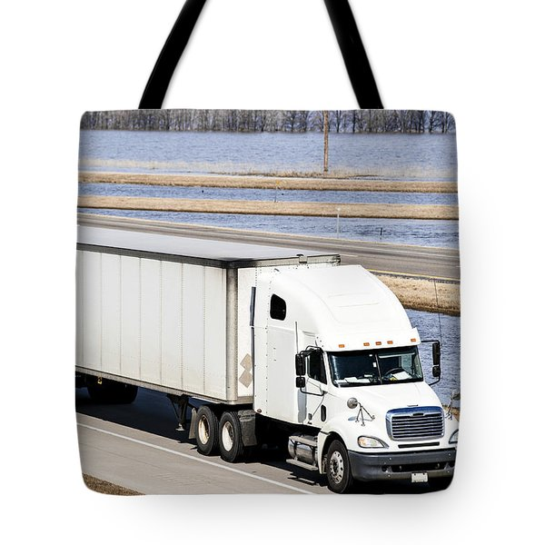 Semi-truck And Flood Water Tote Bag