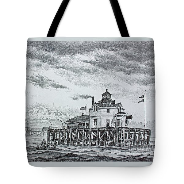 Semiahmoo Lighthouse - Drawing Tote Bag by James Williamson