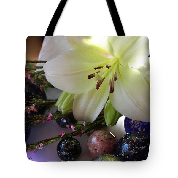 Tote Bag featuring the photograph Send The Light Lily With Marbles by Bonnie Willis