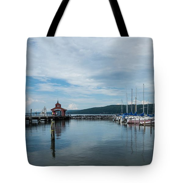 Seneca Lake Harbor - Watkins Glen - Wide Angle Tote Bag by Photographic Arts And Design Studio