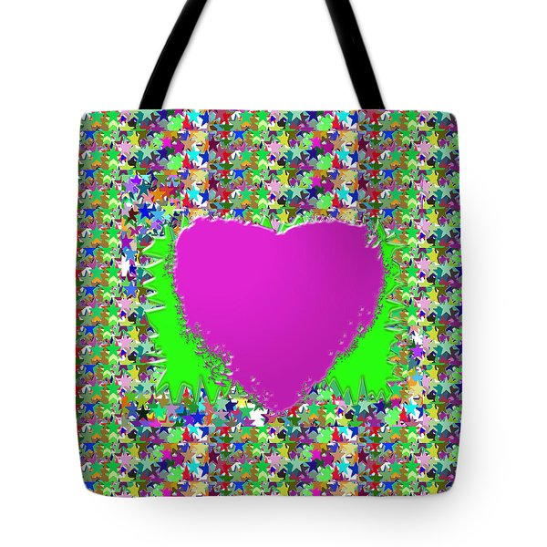 Tote Bag featuring the photograph Sensual Pink Heart N Star Studded Background by Navin Joshi