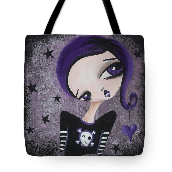 Sentimentally Deranged - Black Star Tote Bag by Oddball Art Co by Lizzy Love
