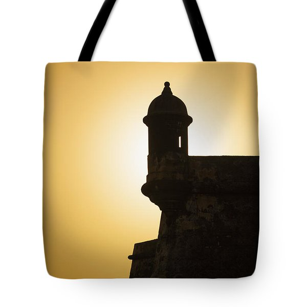 Tote Bag featuring the photograph Sentry Box At Sunset At El Morro Fortress In Old San Juan by Bryan Mullennix