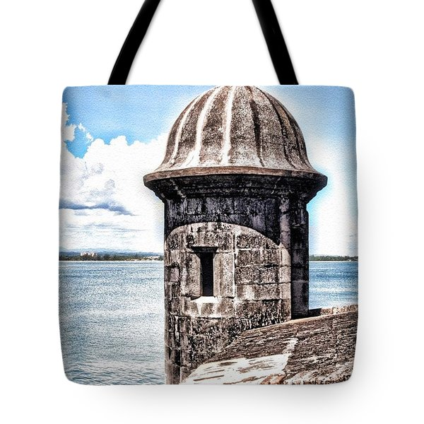 Sentry Box In El Morro Hdr Tote Bag