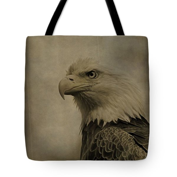 Sepia Bald Eagle Portrait Tote Bag by Dan Sproul