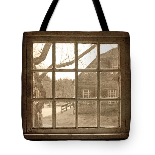 Tote Bag featuring the photograph Sepia Colonial Scene Through Antique Window by Brooke T Ryan