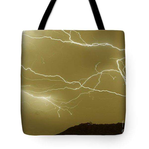 Sepia Converging Lightning Tote Bag