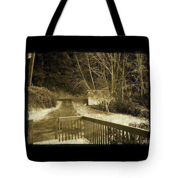Tote Bag featuring the photograph Sepia - Country Road First Snow by Absinthe Art By Michelle LeAnn Scott