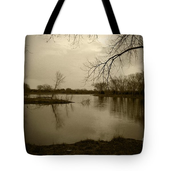 Sepia Lake Tote Bag