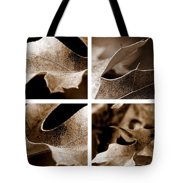 Tote Bag featuring the photograph Sepia Leaf Collage by Lauren Radke