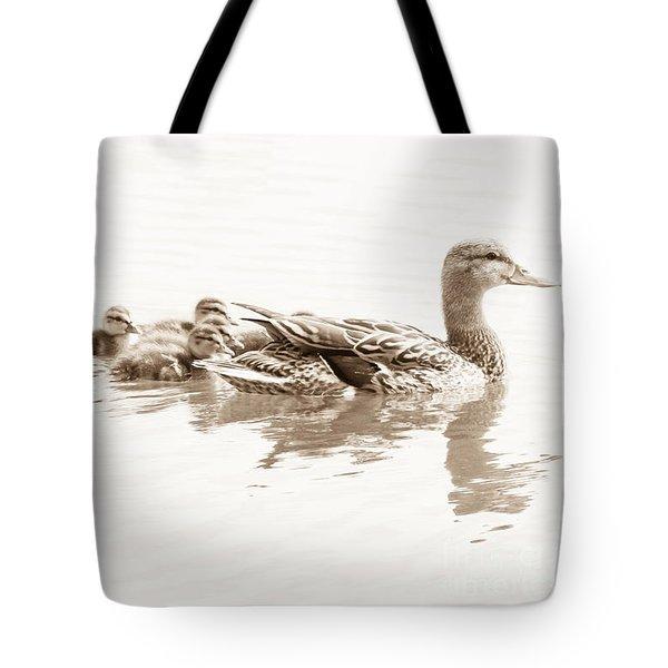 Tote Bag featuring the photograph Sepia Mallard Family by Anita Oakley