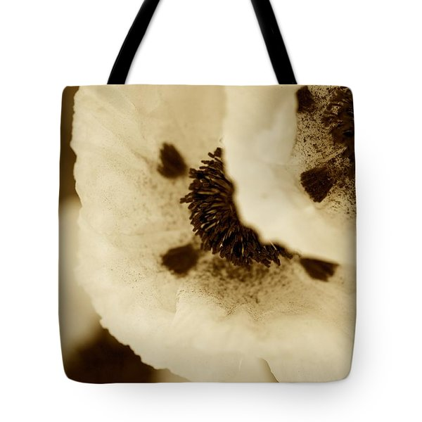 Sepia Poppies Tote Bag
