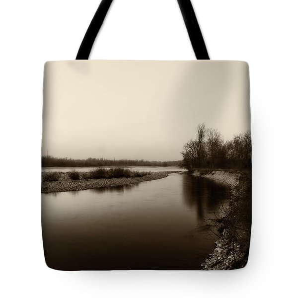 Sepia River Tote Bag