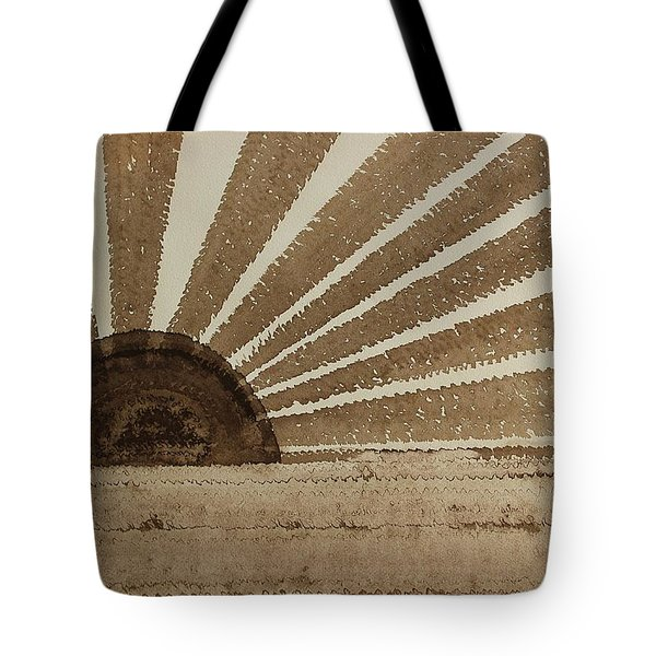 Sepia Sunset Original Painting Tote Bag