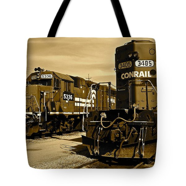 Sepia Trains Tote Bag by Frozen in Time Fine Art Photography