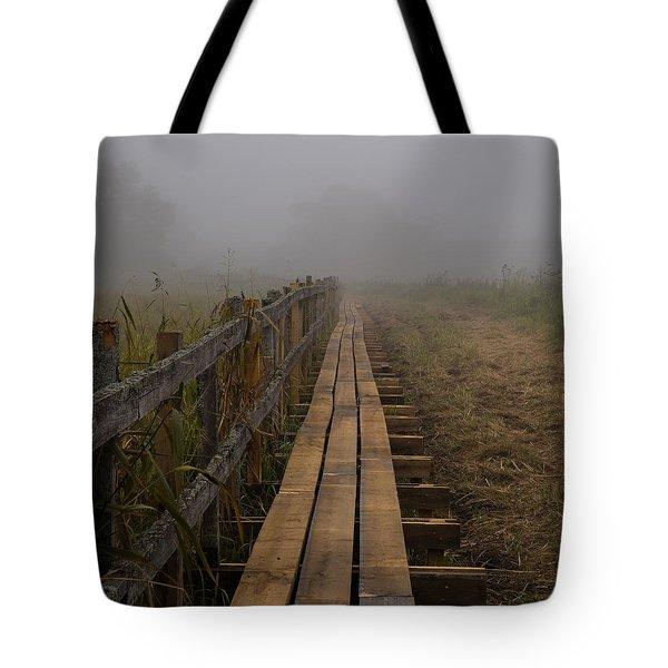 September Mist Hdr - Foggy Day Over Walk Way Tote Bag