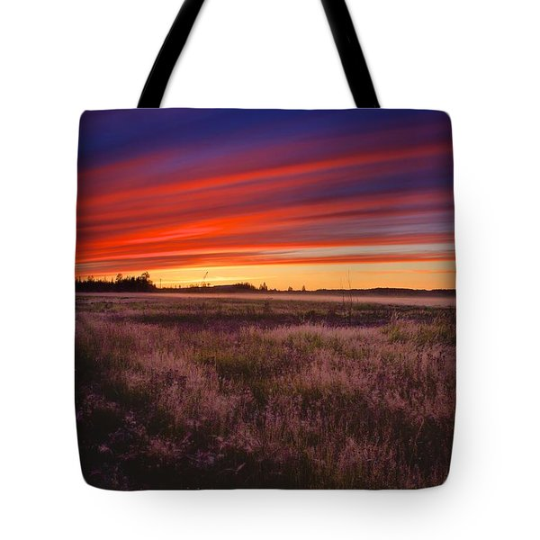 Tote Bag featuring the photograph September Sunset North Pole Alaska by Michael Rogers