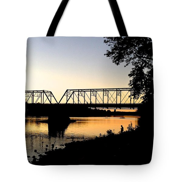 September Sunset On The River Tote Bag