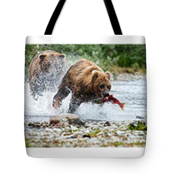 Sequence Of Large Brown Stealing Salmon From Smaller Brown Bear Tote Bag by Dan Friend