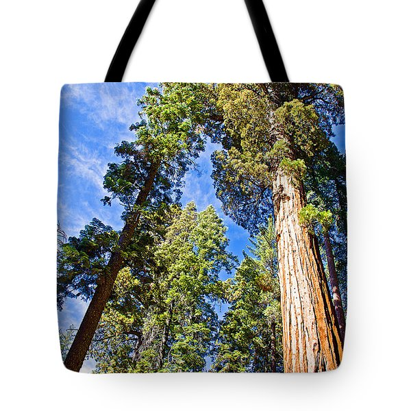 Sequoias Reaching To The Clouds In Mariposa Grove In Yosemite National Park-california Tote Bag by Ruth Hager