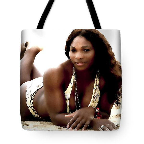 Serena Williams In The Sand Tote Bag by Brian Reaves
