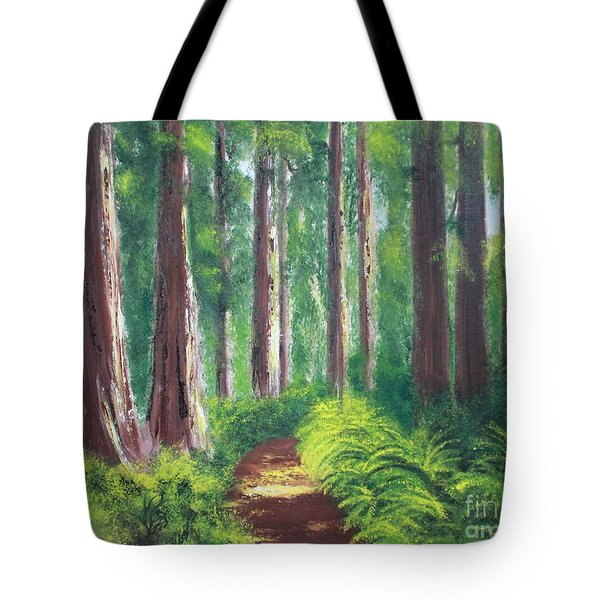 Tote Bag featuring the painting Serenity Forest by Bev Conover