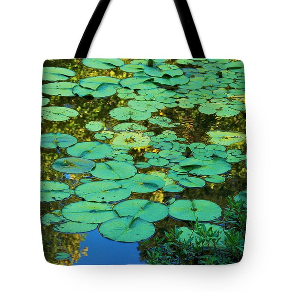 Tote Bag featuring the photograph Serenity Found - Green Lotus Leaves In Blue Water by Jane Eleanor Nicholas