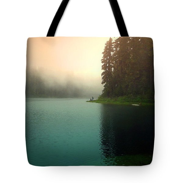 Serenity On Blue Lake Foggy Afternoon Tote Bag by Joyce Dickens