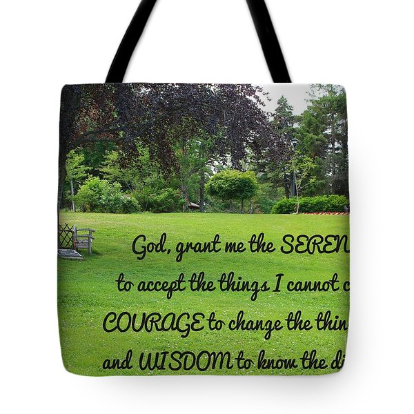 Serenity Prayer And Park Bench Tote Bag by Barbara Griffin